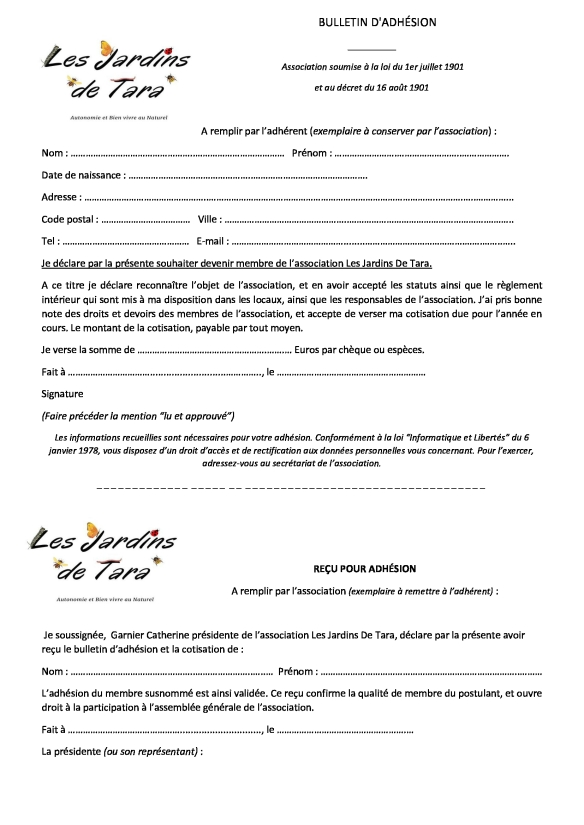 Bulletin d'adhésion JDT